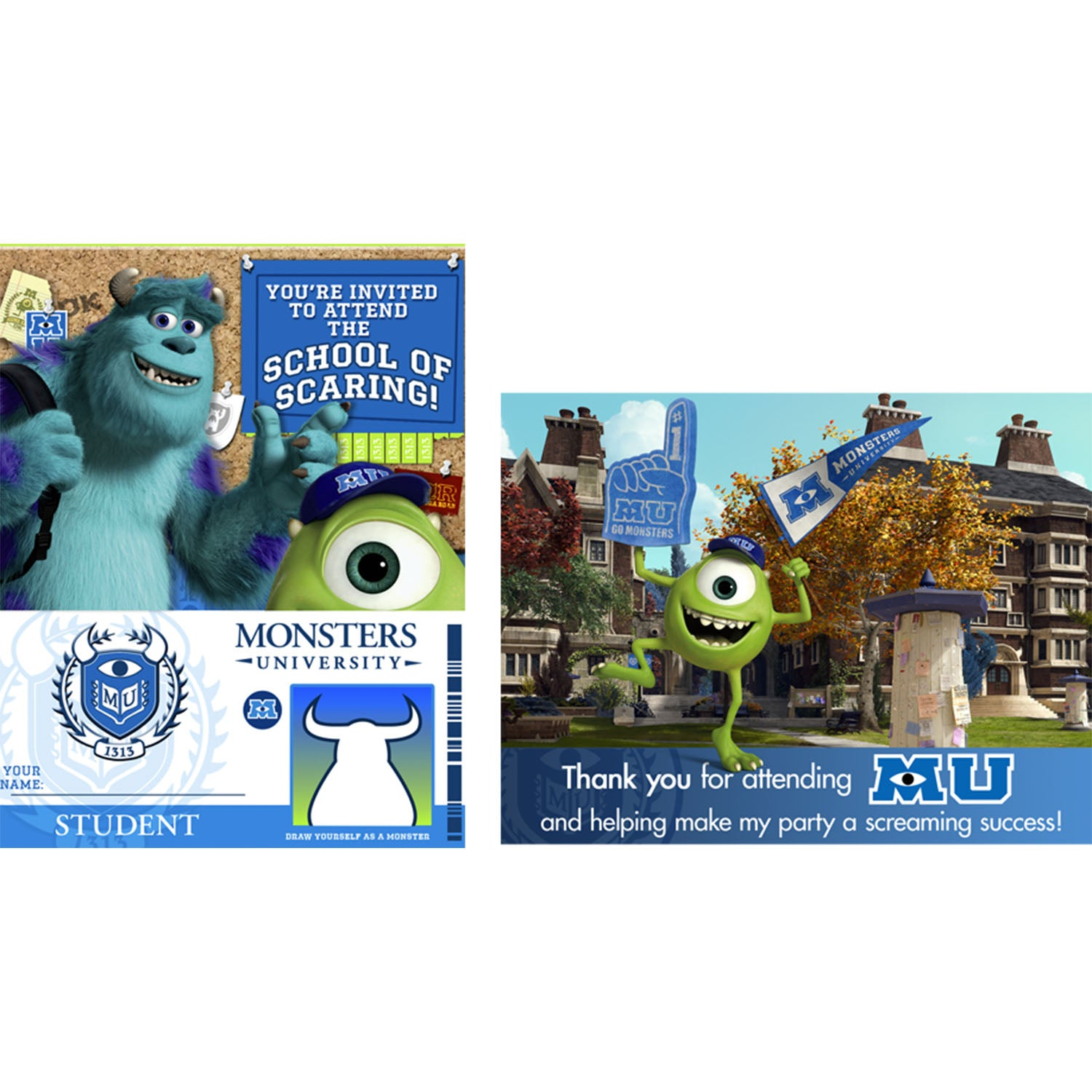 Monsters University Party Supplies - Monsters University Invitations and Thank You Post Cards