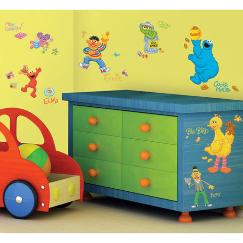 Sesame Street Bedroom Decor - Peel and Stick Wall Decals