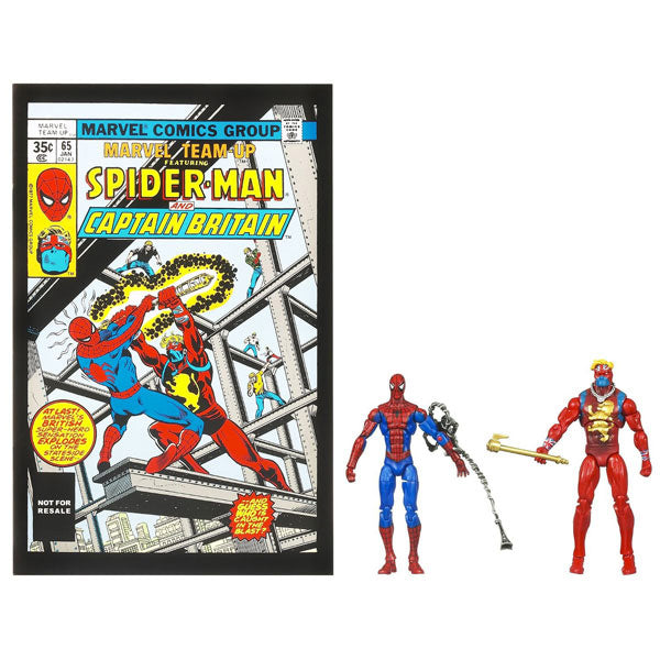 Spider-Man Action Figures - Spider-man and Captain Britain 2-Pack with Comic Book