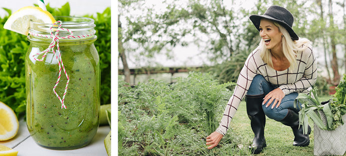 Lisa Raleigh drinking green juice and picking veggies to aid digestion