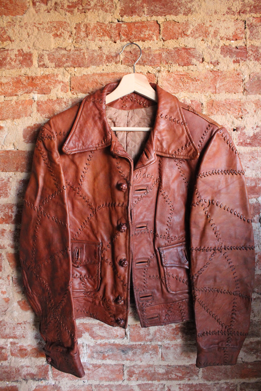 Brown Leather Stitches Jacket