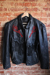 Addi's Fashion Rose Leather Jacket