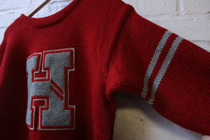 Red H Letterman Sweater