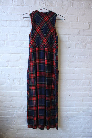 College Town Plaid Button Up Dress
