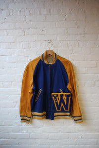 Vintage W Letterman Jacket Blue and Yellow