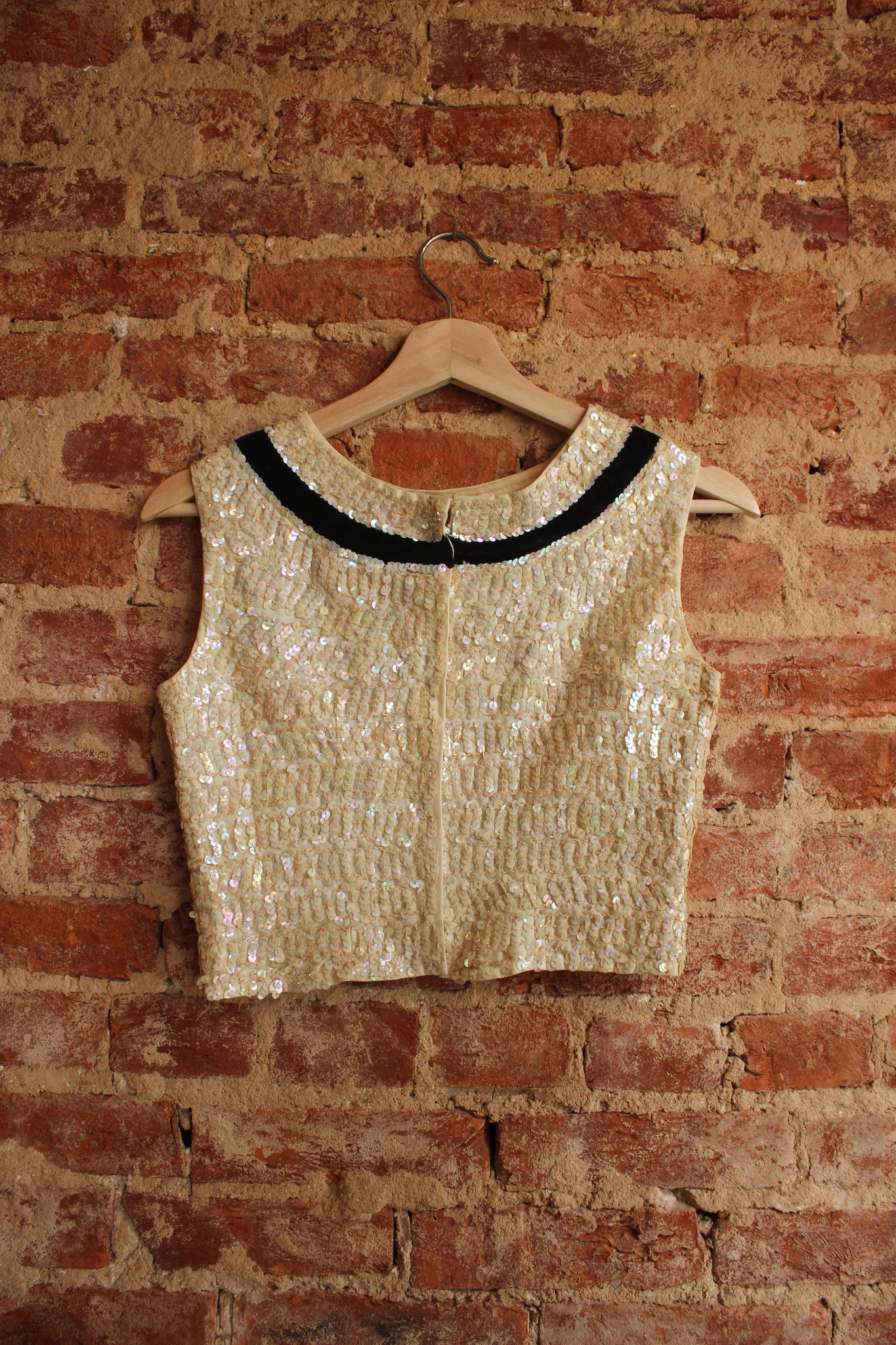 Sequin High Neck Crop