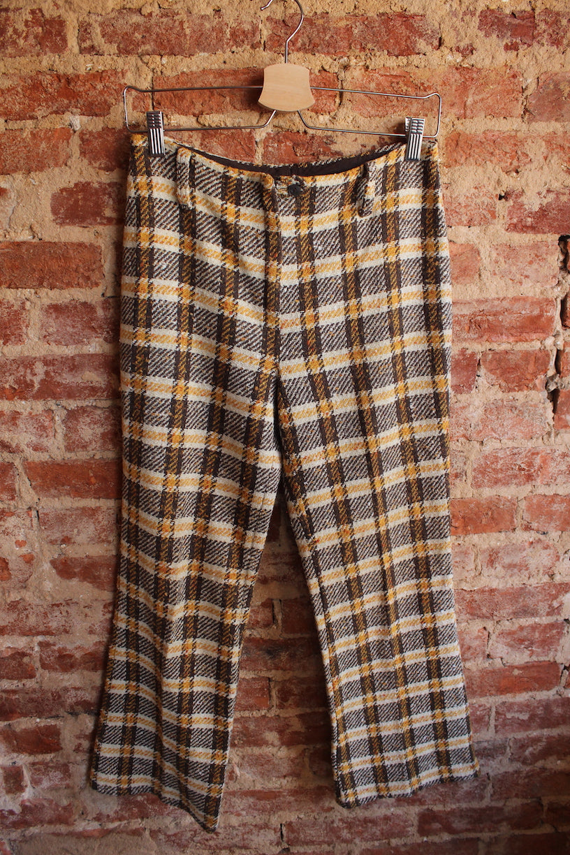 Wool Plaid Flares