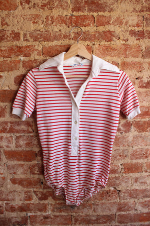 Underscene Red Striped Bodysuit
