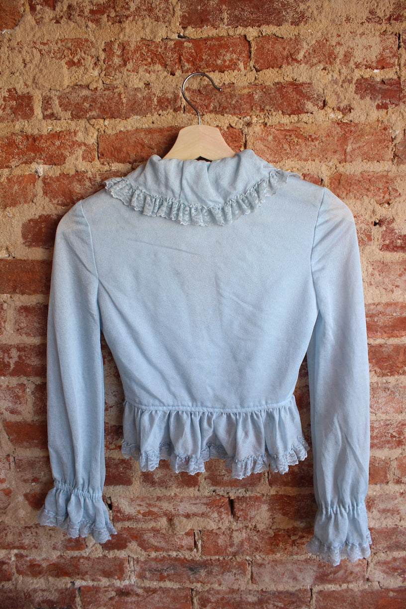 Baby Blue Ruffle Crop Top
