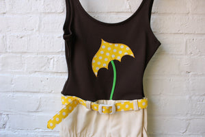 Brown Umbrella Patterned Swimsuit
