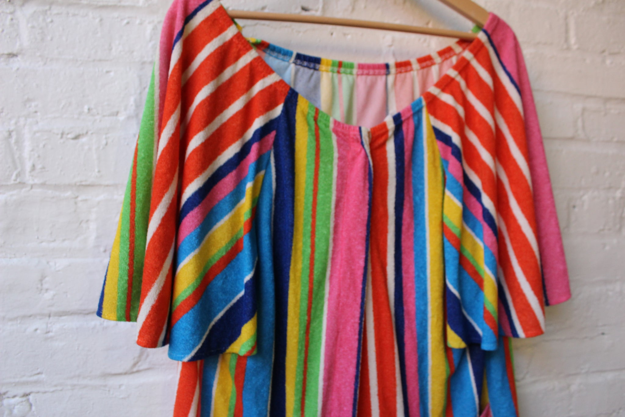 Multi-Stripe Terry Cloth Cover Up