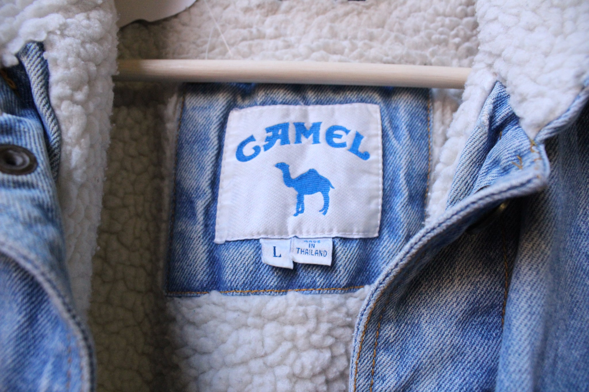 Camel Sherpa Lined Denim Jacket