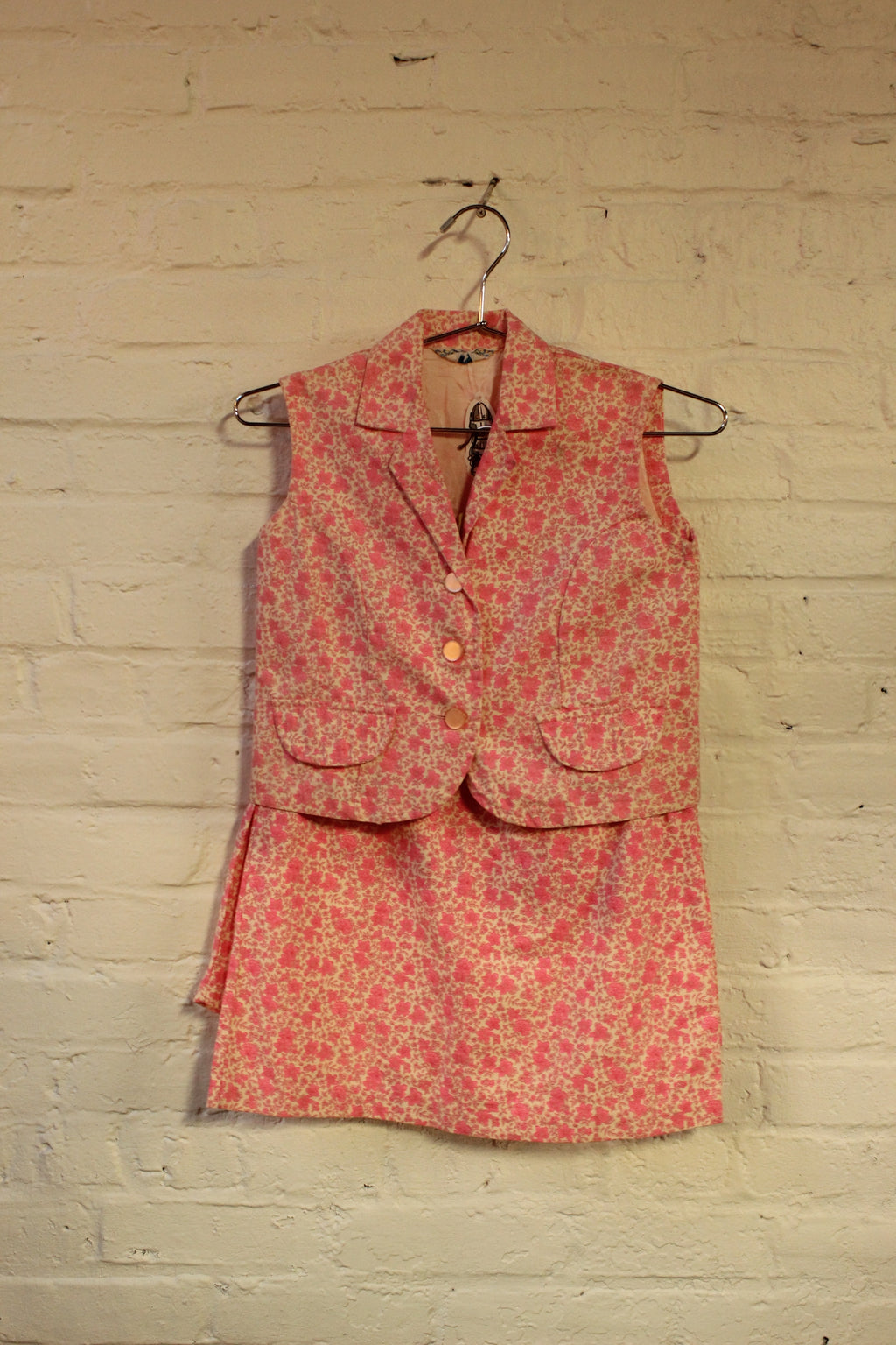 Hot Pink 60s Floral 3 Piece Set