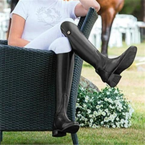 Medieval Gothic Leather Knee High Boots Female Vintage Mountain Horse High Rider Boots