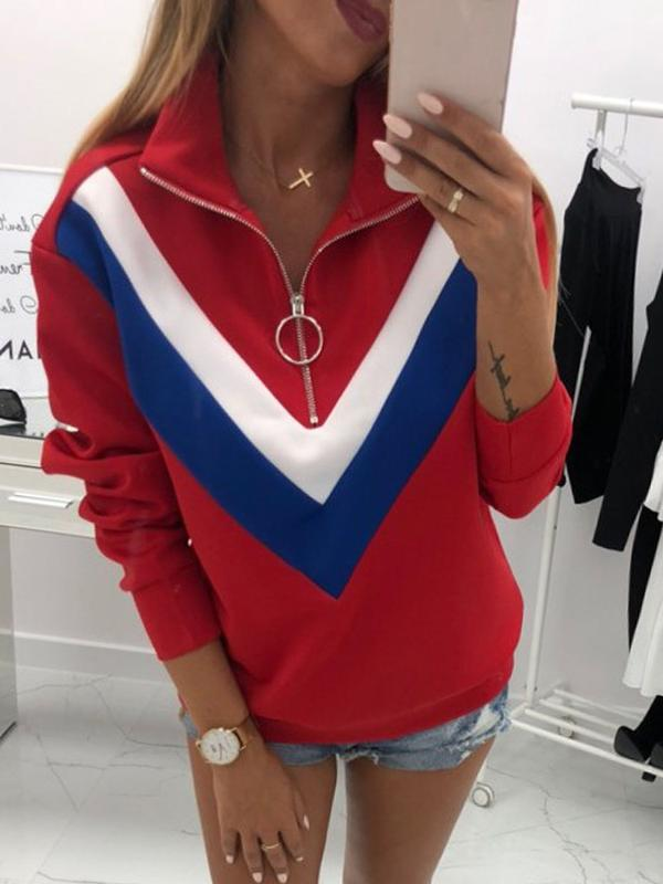 Dekorhea Regular Color Block Zipper Lapel Thin womens hoodies and sweatshirts
