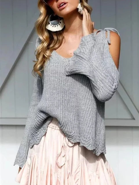 Bell Sleeve Solid Sweet Cotton V neck Sweater