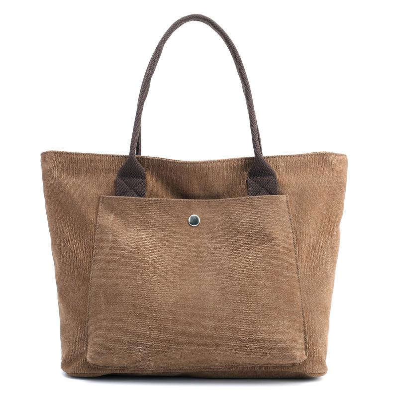 Canvas Pure Color Casual Tote Bag Handbag