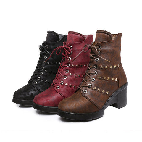 Star Chunky Heel Lace Up Ankle Zipper Boots For Women