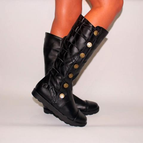 Dekorhea Vintage Comfy with Low Heel Riding Boots