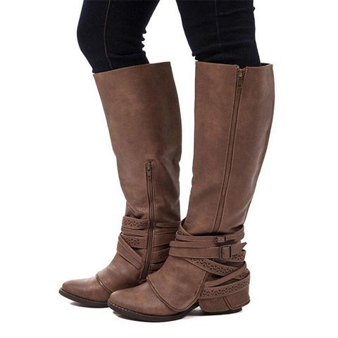 Dekorhea Women Vintage Casual Zipper Plus Size Boots