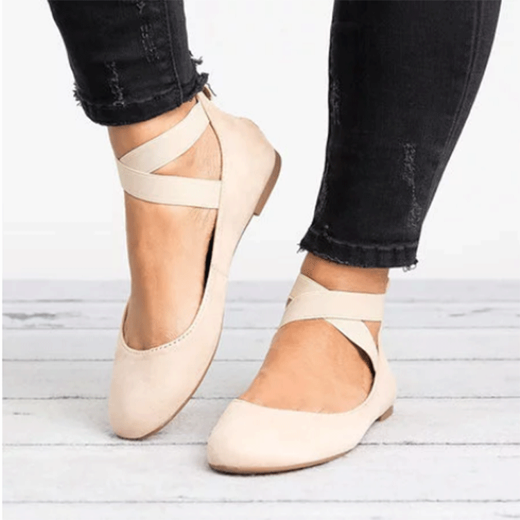 Newly Bandage Round Head Women's Flat Dancing Ballerina Shoes