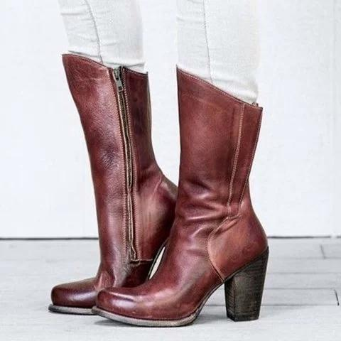 Women Leather Vintage Plus Size Zipper Heeled Boots