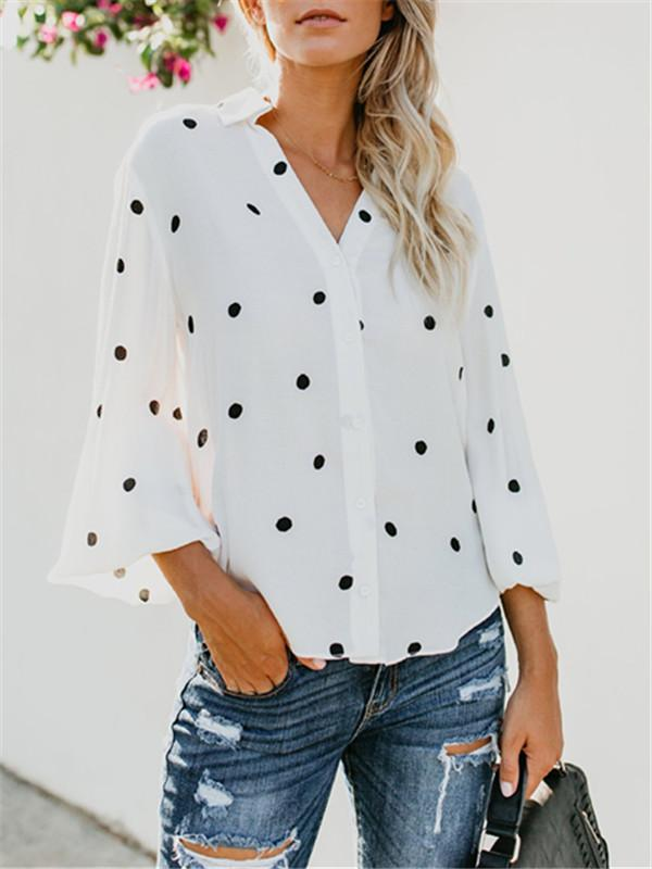 Printed Polka Dot Cardigan Long Sleeve Blouse