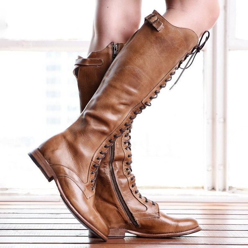 Womens Solid Lace-up Knee-high Zipper Boots