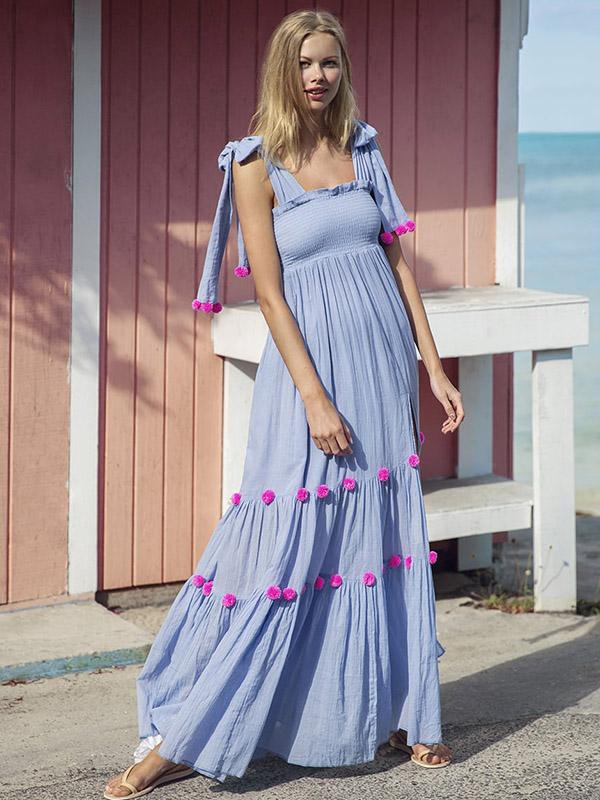 Dekorhea Bohemia Pompoms Knotted Bowknot Split-front Maxi Dress