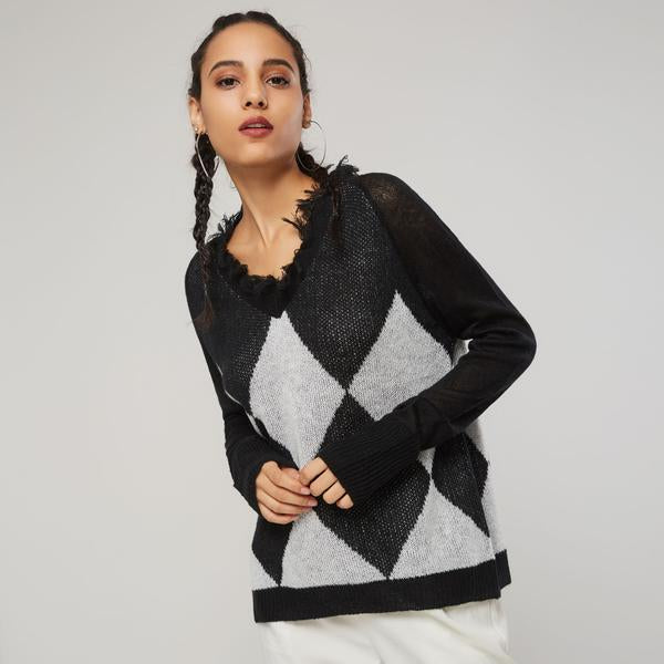 Dekorhea Tassel Color Block sweaters for women