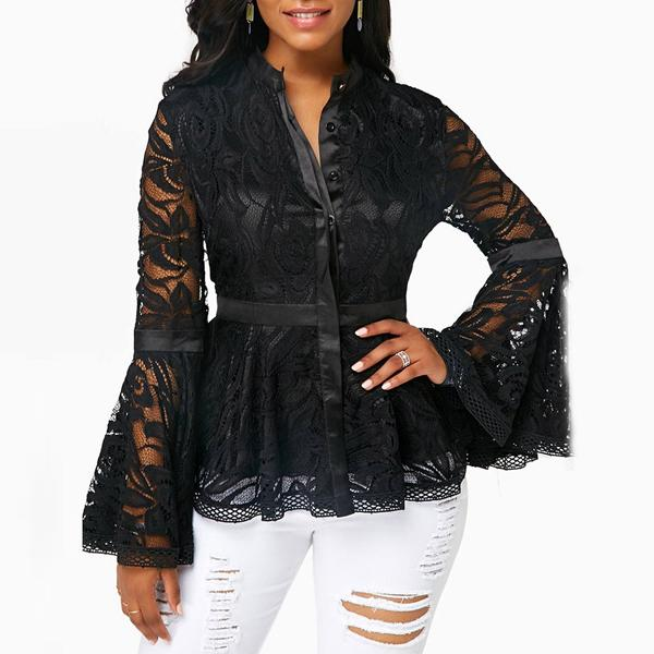 Dekorhea Lace Stitching Single Breasted Sexy blouse for women