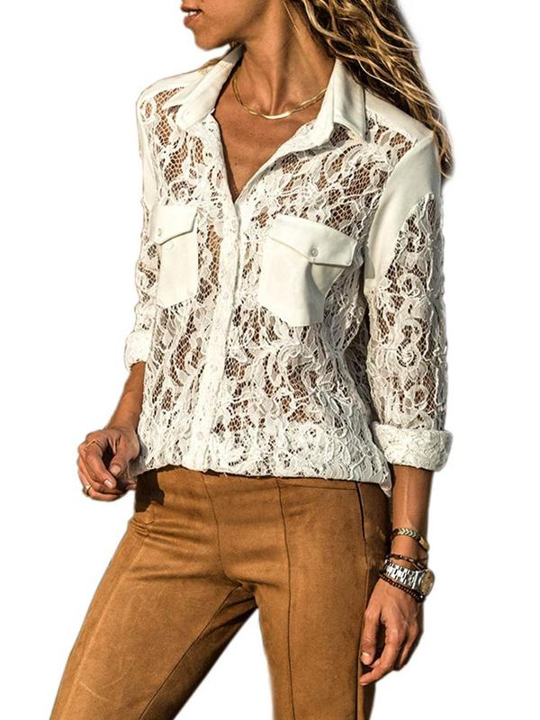 Dekorhea Slim Lace Mid-Length Lapel Single-Breasted Blouse for women