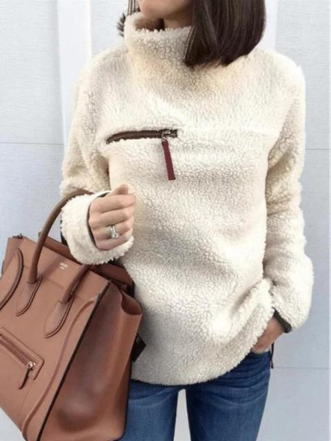 Apricot Long Sleeve Plain Casual Sweater