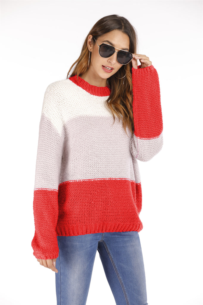 Knitwear patchwork pullover,Created For Dekorhea