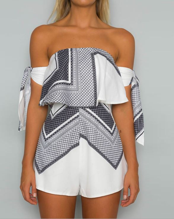 Dekorhea White Off Shoulder Geo Pattern Jumpsuits And Rompers
