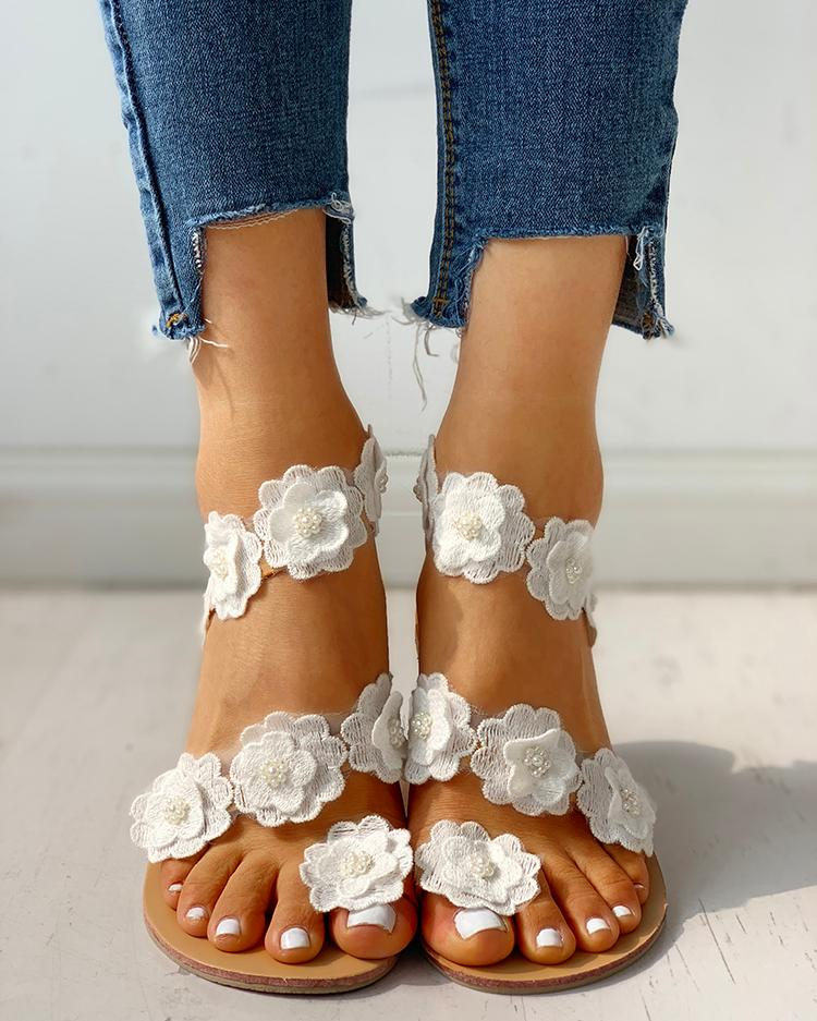 Dekorhea Flower Embellished Open Toe Flat Sandals