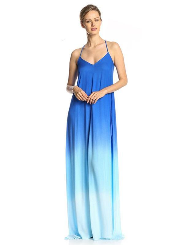 Dekorhea Pretty Gradient Backless Maxi Dress