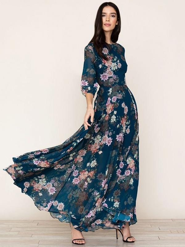 Dekorhea Floral 3/4 Sleeves Round-neck Maxi Dress