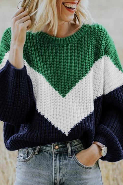 Irregularity Striped Crew Neck Sweater,Created For Dekorhea