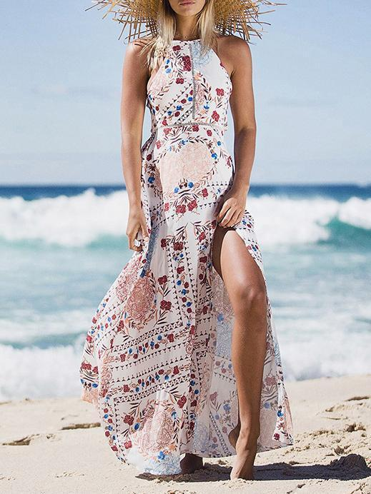 Dekorhea Bohemia Floral Split-side Halterneck Maxi Dress