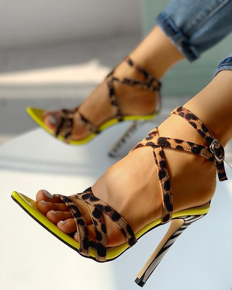 Dekorhea Multi-Strap Crisscross Thin Heeled Sandals
