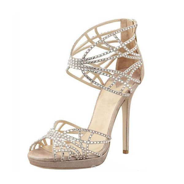 Dekorhea Beige Studded Peep Toe Stiletto Heeled Sandals