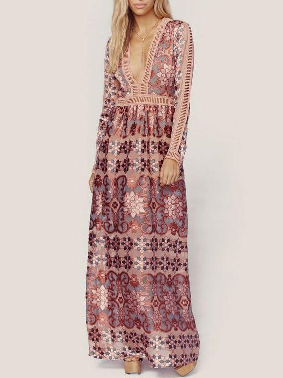 Dekorhea Bohemia Chiffon Lace Deep V-Neck Long Sleeves Floral Print Maxi Dress