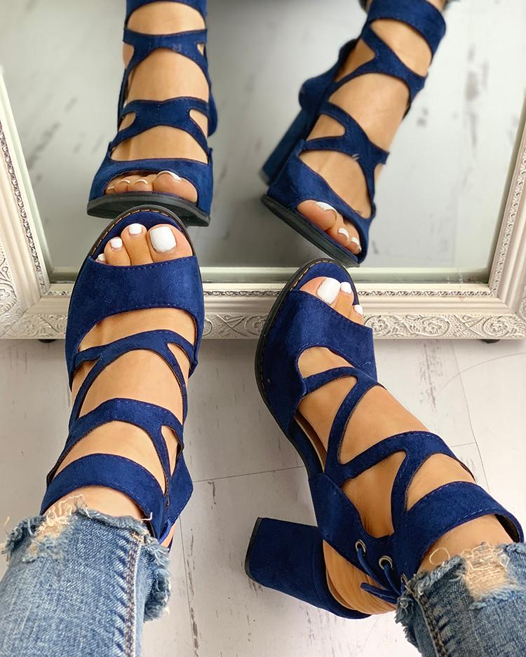 Dekorhea Peep Toe Crisscross Chunky Heeled Sandals