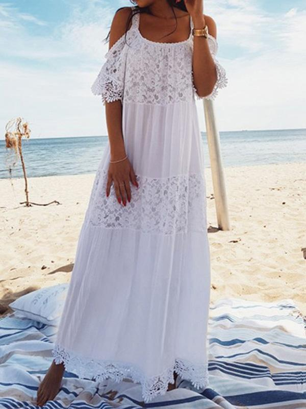 Dekorhea Spaghetti-neck Lace Hollow Solid Beach Swimwear Maxi Dresses