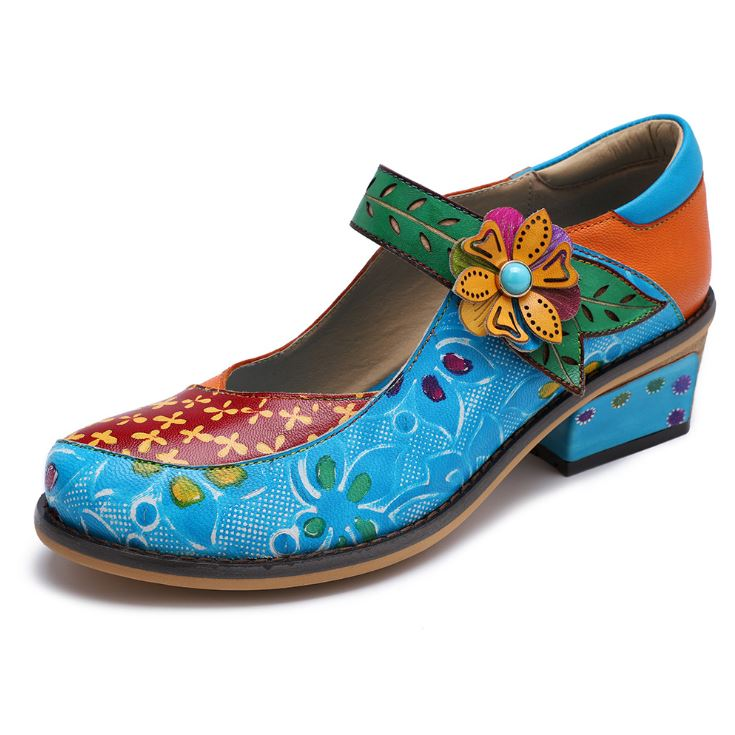 Dekorhea Handmade Vintage Contrast Color Womens Pumps Shoes