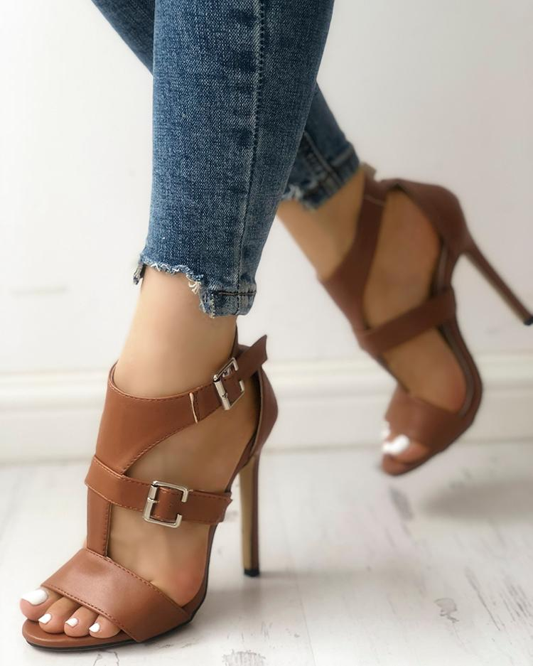 Dekorhea Solid Open Toe Ankle Strap Thin Heeled Sandals