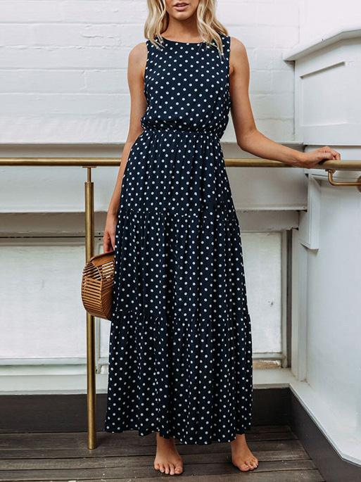 Dekorhea Round-neck Dot Bohemia Maxi Dress