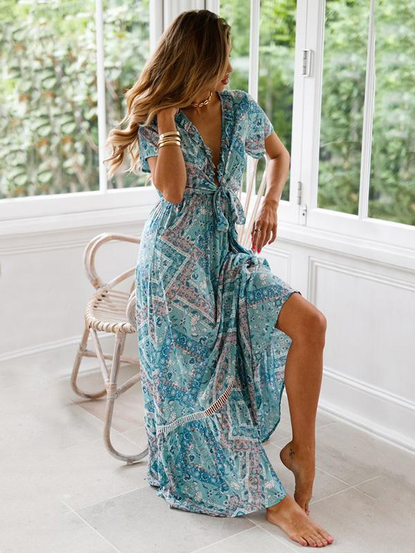 Dekorhea Hollow Printed Bow- Bohemia Maxi Dress