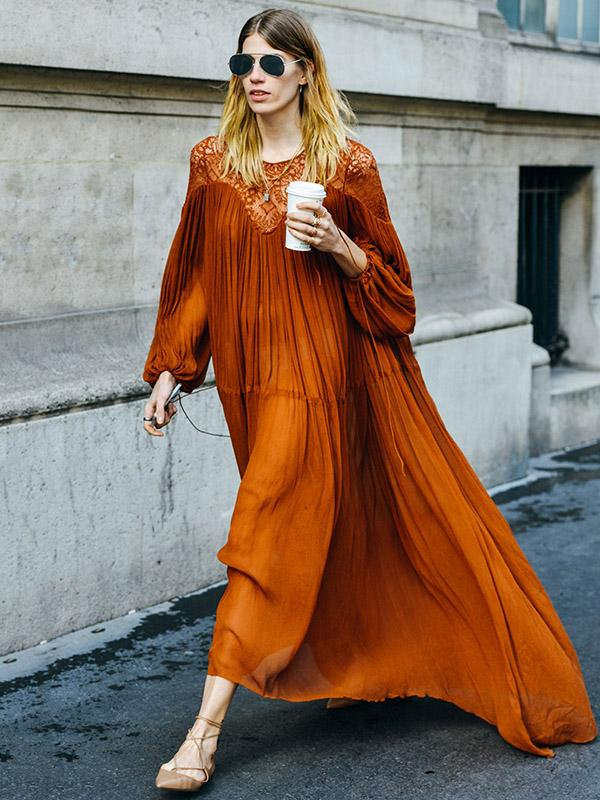 Dekorhea Orange Ruffled Long Sleeves Maxi Dress